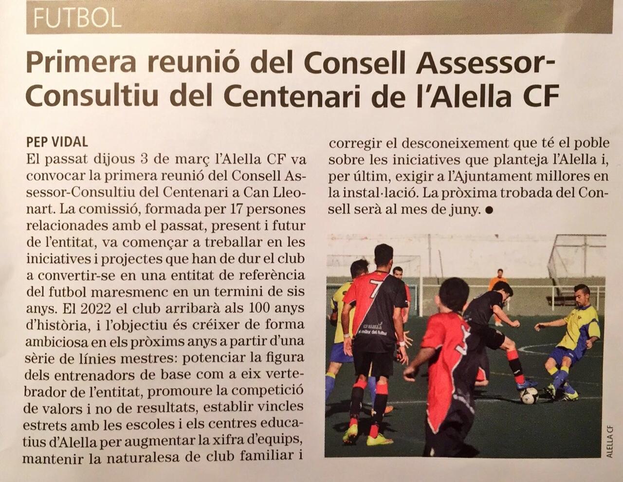 Article de la Revista d'Alella sobre el consell assessor