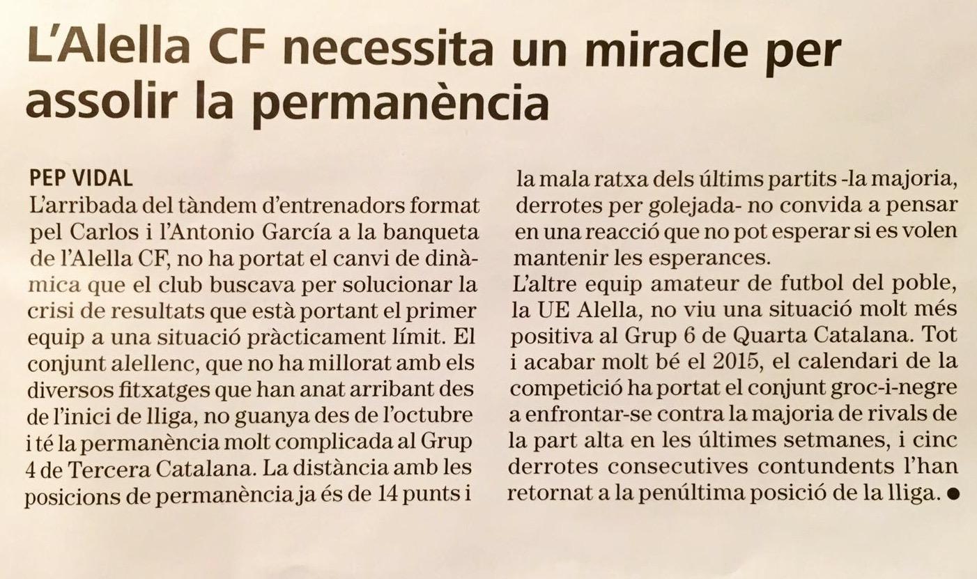 Article de la Revista d'Alella sobre el primer equip