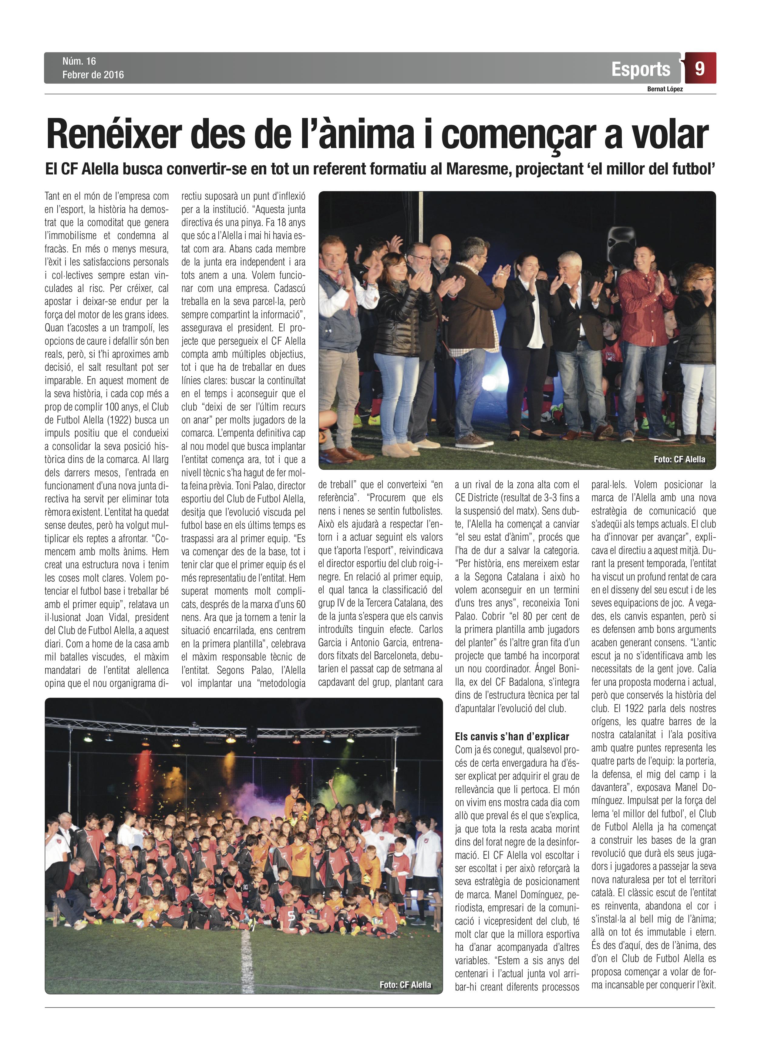 Article del Diari d'Alella sobre el projecte del club