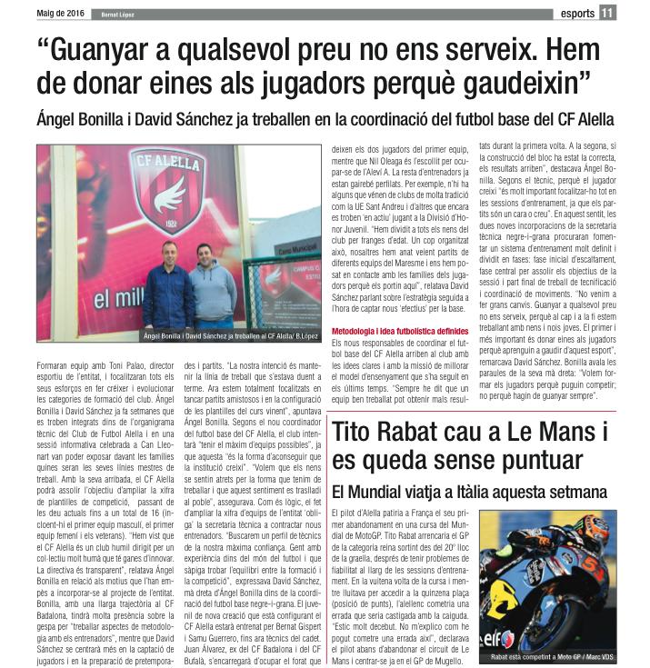 Entrevista del Diari d'Alella als coordinadors del futbol base